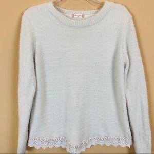 altar'd State eyelash sweater crochet hem